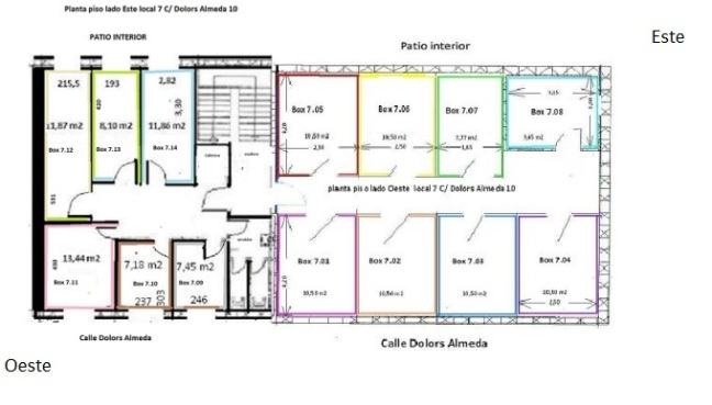 Local 7 planta piso boxes 7,01 a 7.14